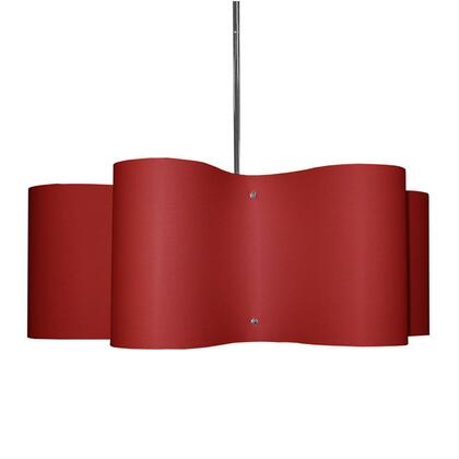 ZUL-243-PC-RD 3 Light Zulu Pendant With Red Shade Polished Chrome