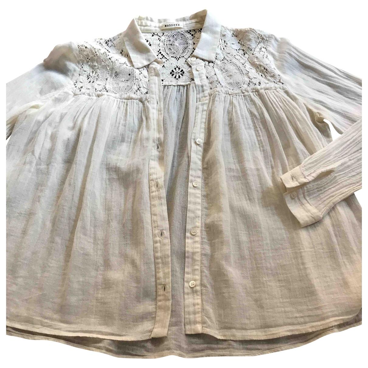 Masscob - Top   pour femme en coton - ecru