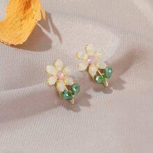Pendientes de tachuela con diseño de flor con diamante de imitacion