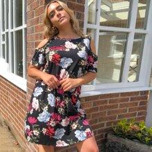 Schulterfreies Kleid mit Blumen Muster
