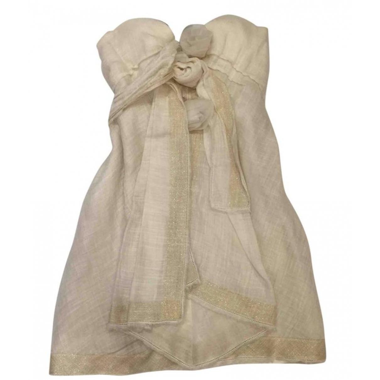 Ermanno Scervino \N Beige Linen dress for Women 40 IT