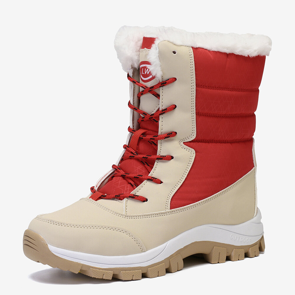 Color Splicing Mid Calf Waterproof Lace Up Snow Casual Boots