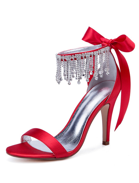 Milanoo Red Wedding Shoes Satin Open Toe Rhinestones Bow High Heel Bridal Shoes