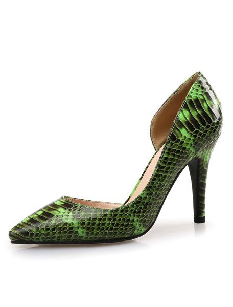 Milanoo Serpiente de acentuado tacones imprime zapatos zapatos de las bombas PU cuero Womens