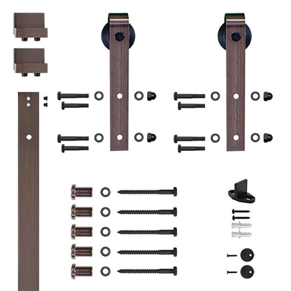 96 in. Oil Rubbed Bronze Hook Strap Rolling Door Hardware Kit for Wood Door