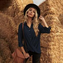 Crossover Roll Up Sleeve Blouse