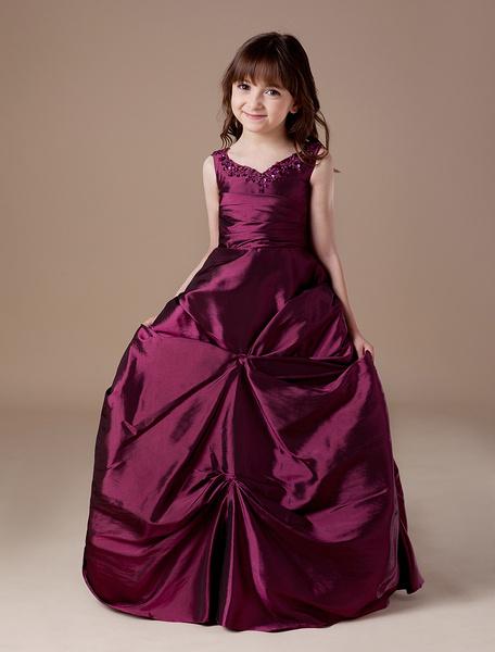 Milanoo Vestido de niña para boda 2020 de Floristas Vestido de bola de tafetan Borgoña acanalado Rebordear Vestido del desfile de niñas V Cuello alto