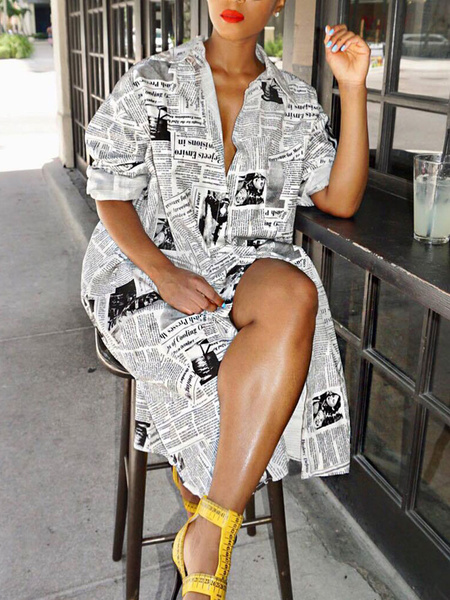 Milanoo Shirt Dresses Yellow Turndown Collar Long Sleeves Newspaper Cotton Blend Printed Split Long Dress