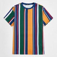 Guys Short Sleeve Striped Colorblock Tee
