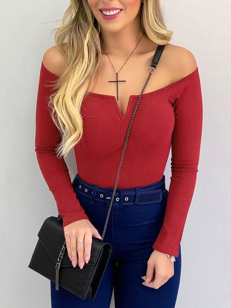 Milanoo Long Sleeves Tees Red Cotton Off-The-Shoulder Women Tee Shirt