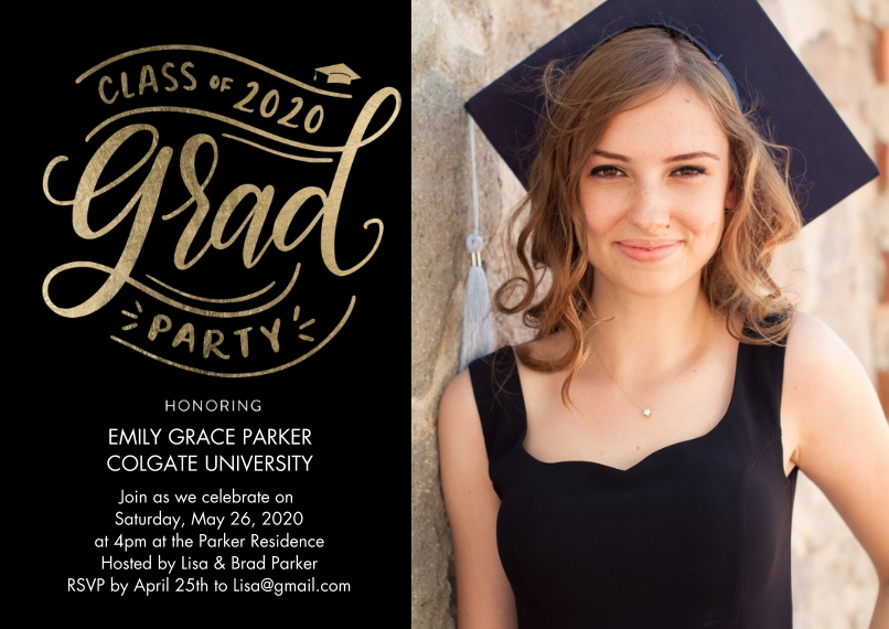 2020 Graduation Invitations 5x7 Cards, Premium Cardstock 120lb with Scalloped Corners, Card & Stationery -2020 Grad Party Script by Tumbalina