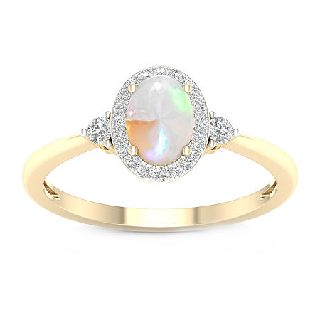 Womens 1/6 CT. T.W. Genuine Multi Color Opal 10K Gold Cocktail Ring, 7 , No Color Family