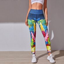 Tribal Print Wideband Waist Sports Leggings
