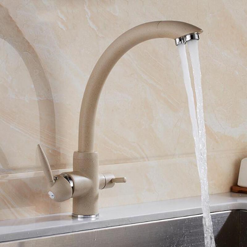 Water Purifier Kitchen Sink Faucet Hot Cold Mixer Tap Double Handles Double Water Outlet Deck Mount