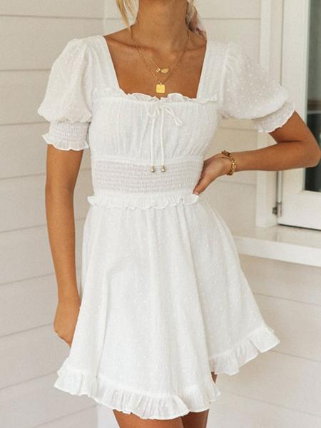 Milanoo Pequeño vestido blanco Vestido de verano con cuello cuadrado y manga de soplo