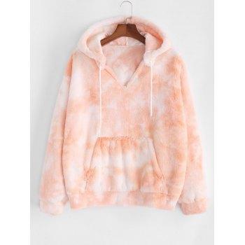 Plus Size Tie Dye Fluffy Faux Fur Front Pocket Hoodie