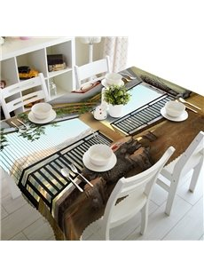 Amusing Beautiful Pavilion on the Mountain Prints Washable 3D Tablecloth