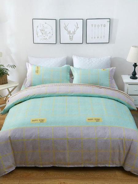 Milanoo Apricot Bedding 4-Piece Set Chic Printed Linen Cotton Blend Colorful Bedding Supplies