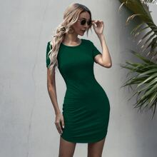 Solid Ruched Hem Bodycon Dress