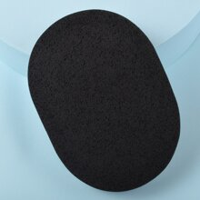 1pc Oval Bamboo Charcoal Facial Cleansing Sponge