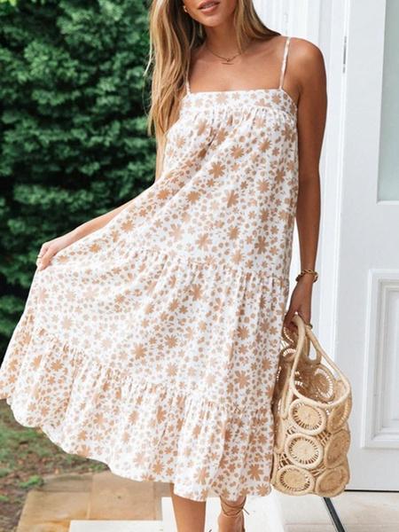 Milanoo Vestido de gasa de playa Vestido de verano de tirantes de cami de gran tamaño