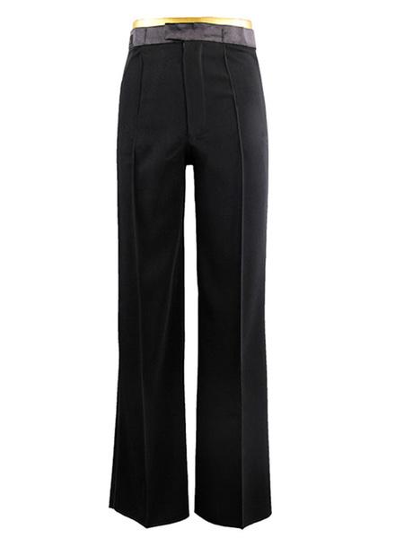 Milanoo Dance Costumes Latin Dancer Dresses Black Acetate Dance Pants for Men Dancing Clothes Halloween