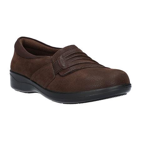 Easy Street Womens Folk Slip-On Shoe, 6 1/2 Medium, Brown