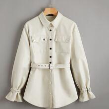 Buckle Belted Sleeve Curved Hem Belted Coat