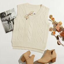 High Low Hem Cable Knit Sweater Vest