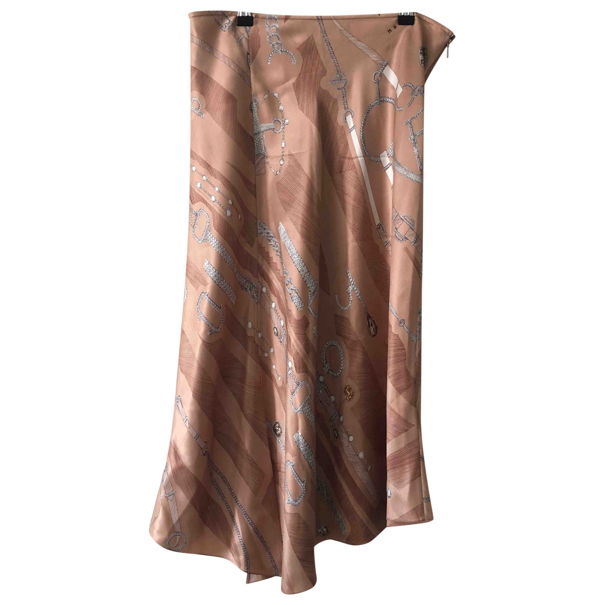Hermes - Jupe   pour femme en soie - marron