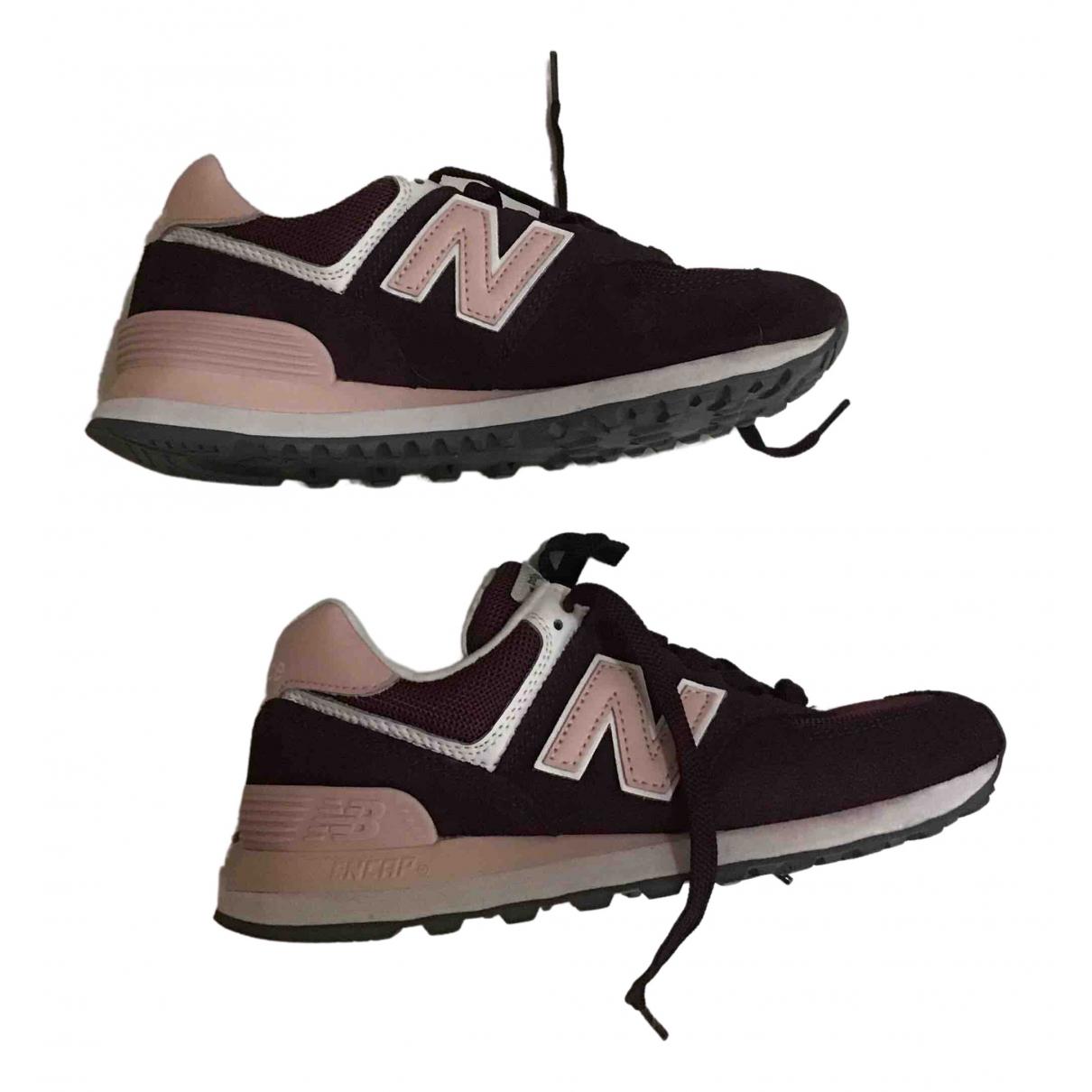New Balance \N Burgundy Leather Trainers for Women 37.5 EU