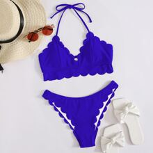 Scallop Trim Halter Bikini Swimsuit