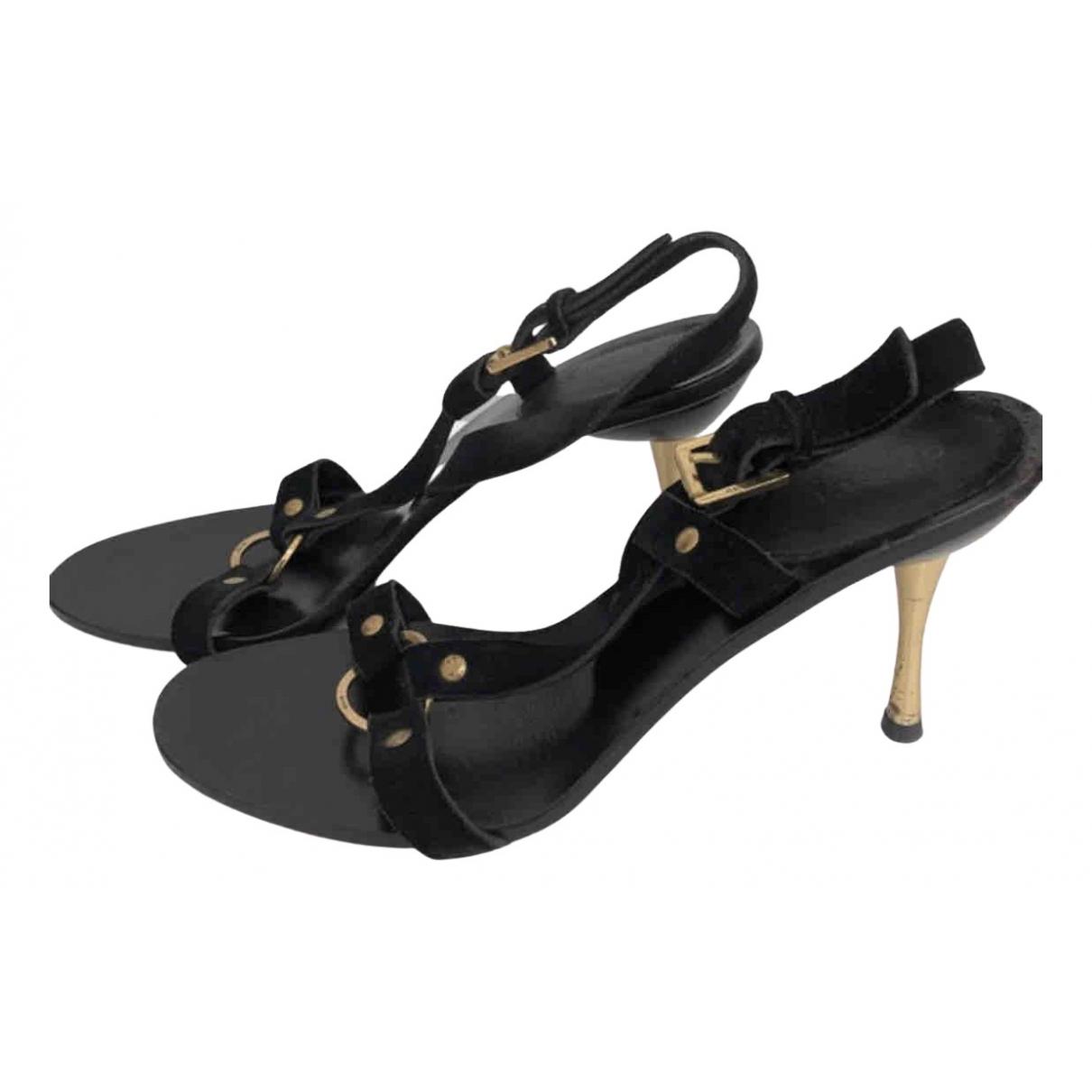 Gucci N Black Leather Sandals for Women 37.5 EU