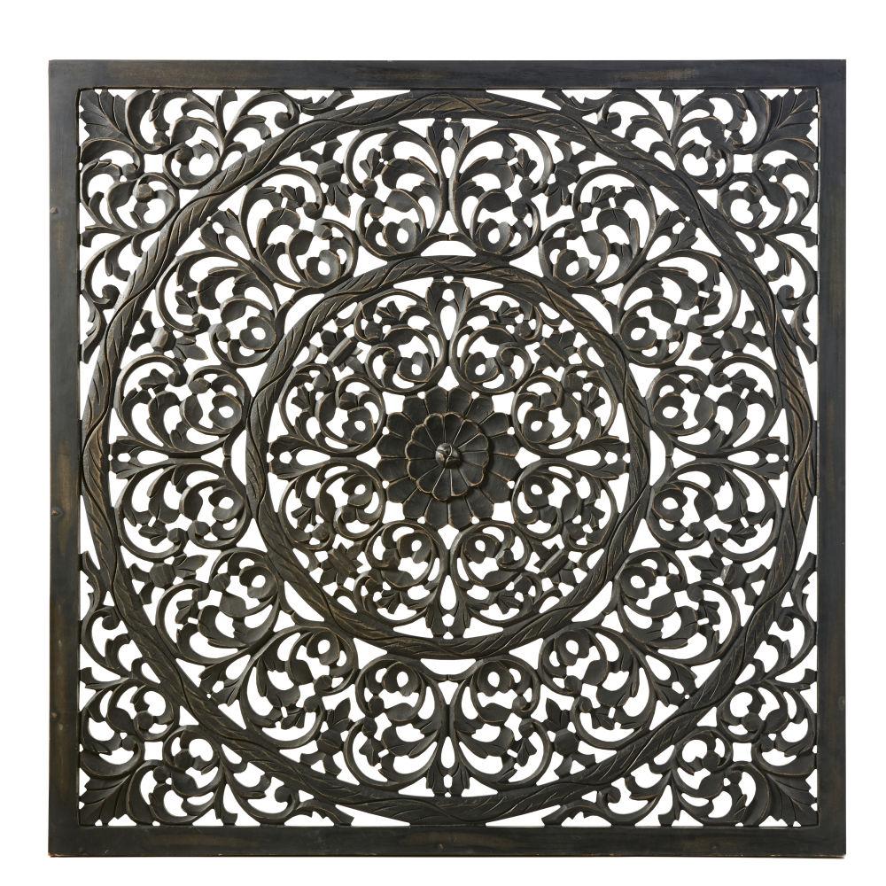 Wanddeko, geschnitzt und schwarz 120x120