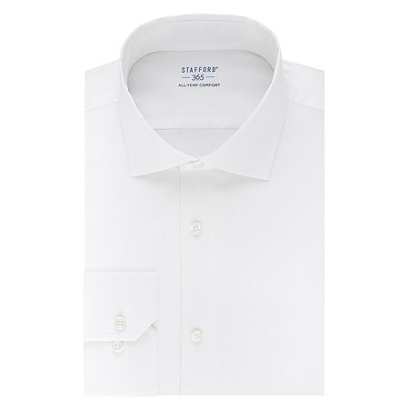 Stafford Mens Wrinkle Free 365 All-Temp Flex Collar Fitted Dress Shirt, 17-17.5 32-33, White