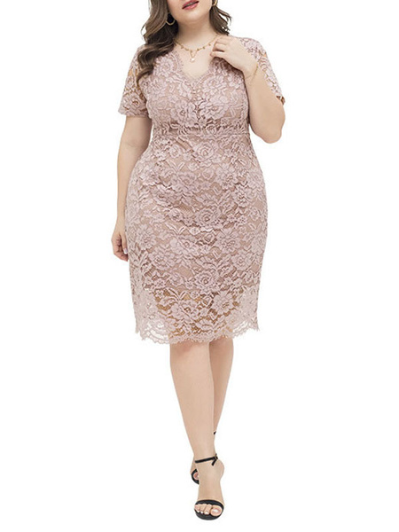 Milanoo Plus Size Clothes For Women Blush Pink Polyester Lace Zipper Short Sleeves Summer Dress