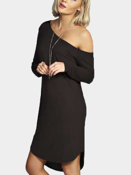 Yoins Black One Shoulder Curved Hem Mini Dresses