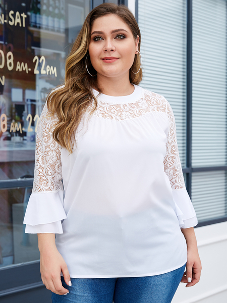 Yoins Plus Size White Lace Round Neck Ruffle Sleeves Lace Blouse
