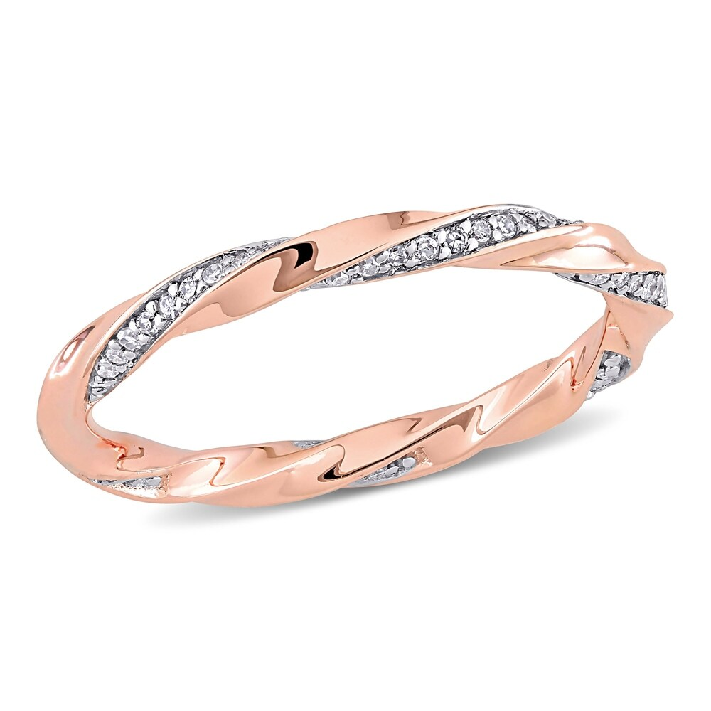 Miadora 10k Rose Gold 1/4ct TDW Diamond Twisted Stackable Eternity Band Ring (5)