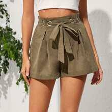 Shorts mit Ose Guertel und weitem Beinschnitt
