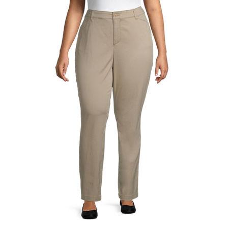 St. John's Bay Secretly Slender Womens Mid Rise Slim Pant-Plus, 16w , Brown