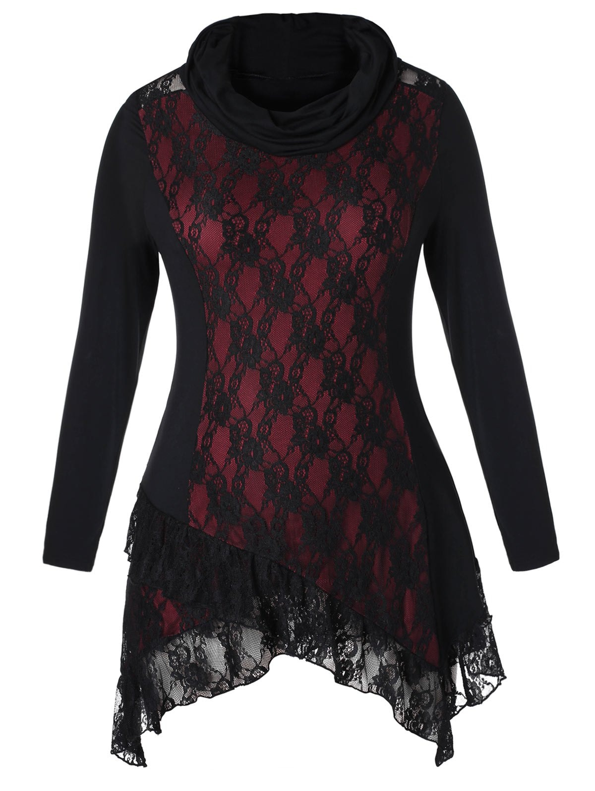 Plus Size Asymmetrical Cowl Neck Lace Insert T-shirt