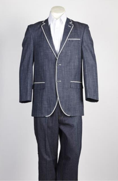 Two  Button Single Breasted Suit Denim Jean Blue