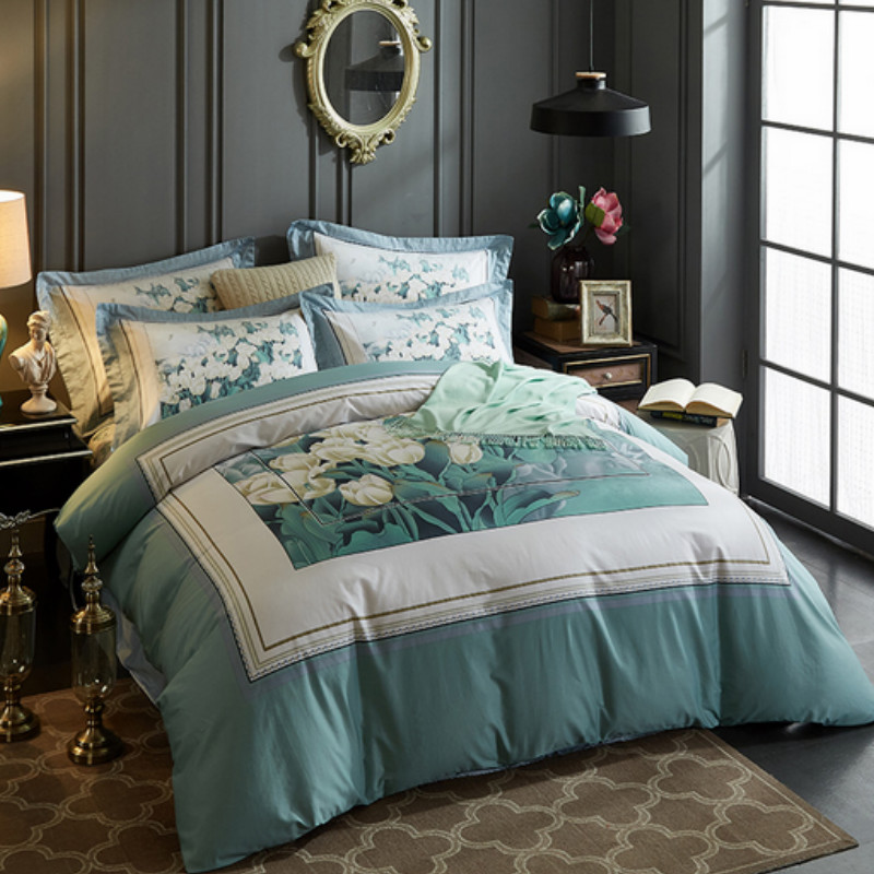 Spring Pastoral Fresh Style Tulip Printed 4-Piece Cotton Nudy Blue Bedding Sets/Duvet Cover