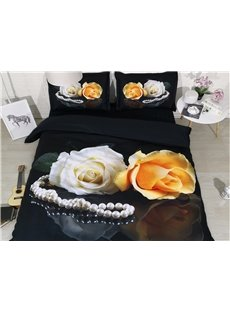 3D White and Yellow Rose Digital Printing Cotton 4-Piece Black Bedding Sets/Duvet Covers