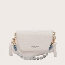 Crocodile Flap Satchel Bag