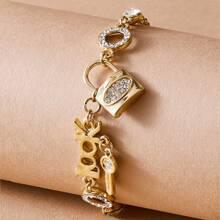 Pulsera con diseño de llave con cerradura grabada con diamante de imitacion 1 pieza