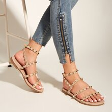 Studded Decor Ankle Strap Sandals