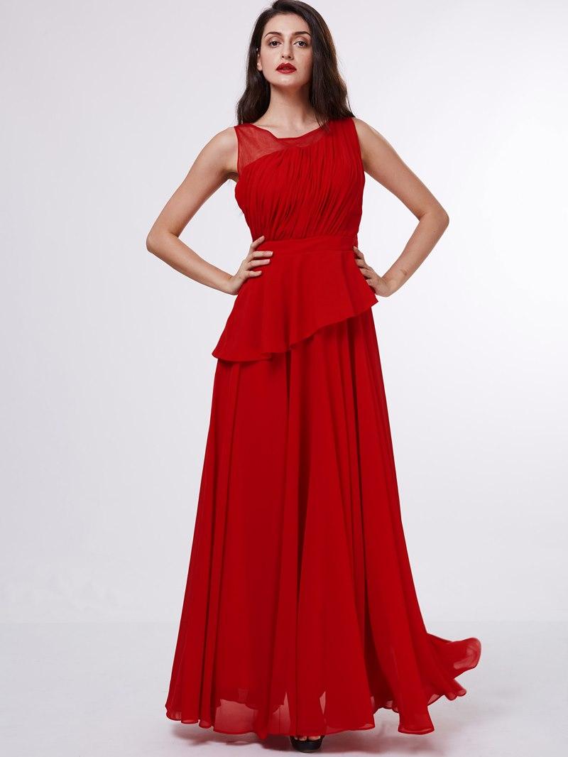 Ericdress Stunning Scoop Neckline Pleats Chiffon Draped Long Evening Dress