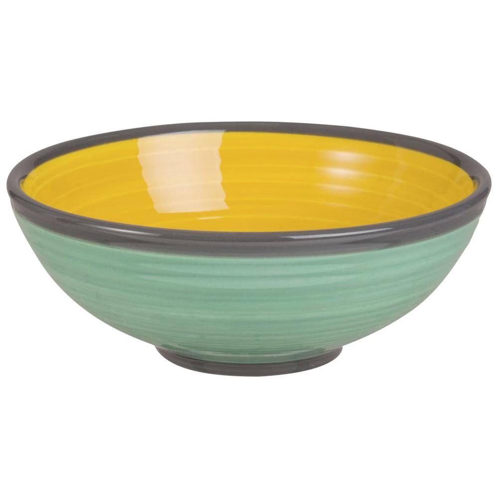 Schaelchen aus gelber und gruener Fayence